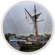 Good Friends Sailboat South Haven Round Beach Towel