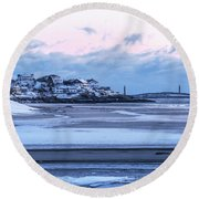 Good Harbor Beach And Thacher Island Covered In Snow Gloucester Ma Round Beach Towel