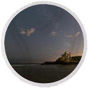 Good Harbor Beach Under The Stars And Milky Way Round Beach Towel