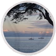 Good Morning Boats Round Beach Towel
