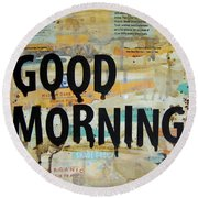Good Morning Coffee Collage 9x12 Round Beach Towel