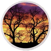 Good Morning Cows Colorful Sunrise Round Beach Towel