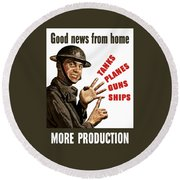 Good News From Home - More Production Round Beach Towel by War Is Hell Store