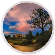 Good Night God's Garden 2 Round Beach Towel