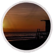 Good Night Newport Beach Round Beach Towel