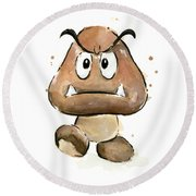 Goomba Watercolor Round Beach Towel