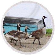 Goose Crossing Mayville Park Round Beach Towel