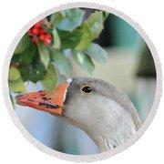 Goose Eating Berries Round Beach Towel