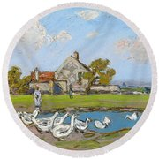 Goose Girl At Sablons Round Beach Towel