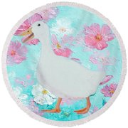 Goose On Floral Background Round Beach Towel