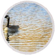 Goose On The Pond Round Beach Towel