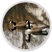 Goose Reflection Round Beach Towel