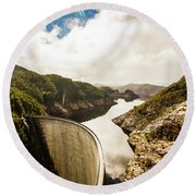 Gordon Dam Tasmania  Round Beach Towel
