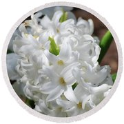 Goregeous White Flowering Hyacinth Blossom Round Beach Towel