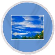 Gorgeous Blue Sky With Clouds Round Beach Towel