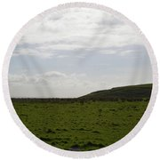 Gorgeous Grass Field With Clouds In Ireland Round Beach Towel
