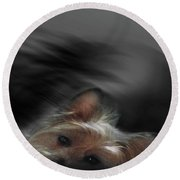 Yorkie Joy Painting Round Beach Towel