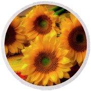 Gorgeous Lovely Sunflowers Round Beach Towel