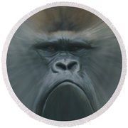 Gorilla Freehand Abstract Round Beach Towel