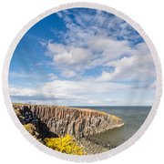 Gorse At Cullernose Point Round Beach Towel