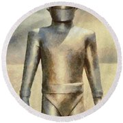 Gort From The Day The Earth Stood Still Round Beach Towel