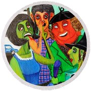Gossips At The Greengrocer's Round Beach Towel