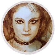 Goth Lady Round Beach Towel