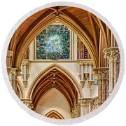 Gothic Arches - Holy Name Cathedral - Chicago Round Beach Towel