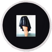 Gothic Black Satin High Low Skirt. Ameynra By Sofia Round Beach Towel