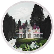 Gothic Country House Detail From Night Bridge Round Beach Towel