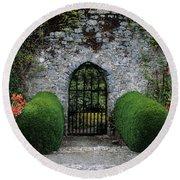 Gothic Entrance Gate, Walled Garden Round Beach Towel