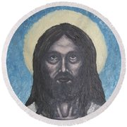 Gothic Jesus Round Beach Towel