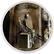 Gothic Surreal Angel With Gargoyles And Ravens  Round Beach Towel