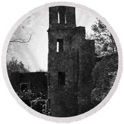 Gothic Tower At Blarney Castle Ireland Round Beach Towel