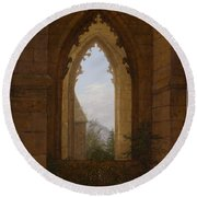Gothic Windows In The Ruins Of The Monastery At Oybin Round Beach Towel
