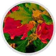Gouache Painting Flower And Bumble Bee Round Beach Towel