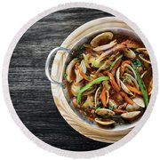 Gourmet Clam And Vegetable Seafood Stew In Spicy Tomato Sauce Round Beach Towel