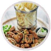 Gourmet Fried Octopus Calamari Style Set Meal With Fries Round Beach Towel
