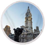 Government Of The People And City Hall Philadelphia Round Beach Towel