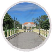Governor Mansion In Battambang Cambodia Round Beach Towel