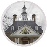 Governors Palace Back Door 01 Round Beach Towel