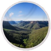 Govetts Leap Lookout Panorama, Australia Round Beach Towel