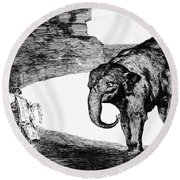 Goya: Elephant, C1820 Round Beach Towel