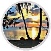 Grabbers Sunset Round Beach Towel