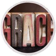 Grace - Antique Letterpress Letters Round Beach Towel