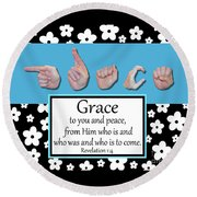 Grace - Bw Graphic Round Beach Towel
