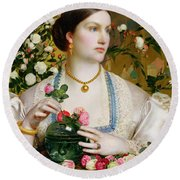 Grace Rose Round Beach Towel by Anthony Frederick Augustus Sandys