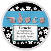 Grace Spanish - Bw Graphic Round Beach Towel