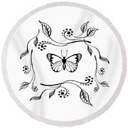 Graceful Butterfly Baby Room Decor Iv Round Beach Towel