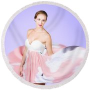 Graceful Dreamy Dancing Girl In Pink Dress Round Beach Towel